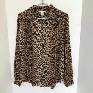H&M Leopard Long Sleeve Button Up Blouse